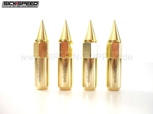 SICKSPEED Lug Nuts 60/90mm spiked M12x1.5/1.25 24k GOLD Radmuttern 4er